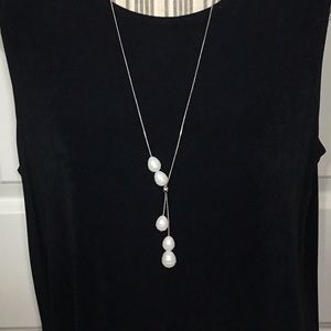 NWT! Chico's Faux Pearl Lariat Necklace - 30""